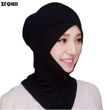 ZFQHJJ 2017 New Fashion Women Muslim Hijab Caps Solid Black White Stretch Modal Islamic Turban Head Cover Islam Wrap Hijab Caps