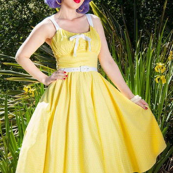 Pinup Couture Molly Dress in Yellow with White Dots
