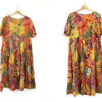 Fall Colors Dress 1990s Long Cotton dress floral Leaf Pattern Print Button Front FROCK sundress womens maxi revival Baggy Dress Size Medium