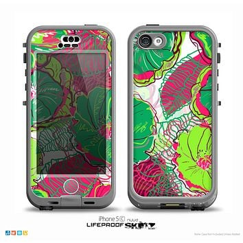 The Bright Pink and Green Flowers Skin for the iPhone 5c nüüd LifeProof Case