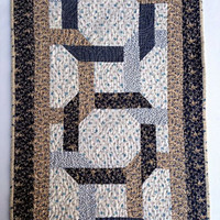 "Quilted Celtic Twist Tablerunner, Table Topper, Centerpiece Mat, Tablecloth – Shades of Blue, Tan and Cream – 62-1/2"" x 17"""