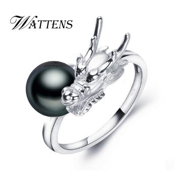 WATTENS Pearl Jewelry, Pearl rings,Dragon ring,punk Natural Freshwater Pearl wedding rings,rings for women jewelry box