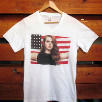 Lana Del Rey American Flag White V- Neck T-Shirt. Small to X-Large.