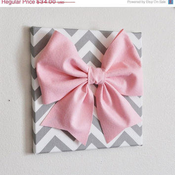 "MOTHERS DAY SALE Large Light Pink Bow on Gray and White Chevron 12 x12"" Canvas Wall Art- Baby Nursery Wall Decor- Zig Zag"