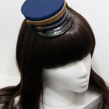 Dark Blue and Gold Gothic and Lolita Mini Train Conductor Hat - Made to Order