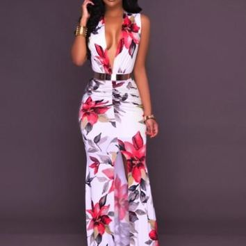 Zipper V-Neck Floral Bodycon Women's Maxi Dress
