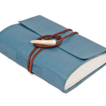 Light Blue Leather Wrap Journal with Antler Closure - Ready to Ship -