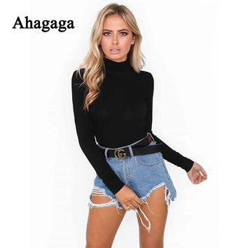 Ahagaga 2017 Autumn Winter Rompers Woman Jumpsuits Fashion Regular Solid White Black Sexy Club Skinny Women Bodysuits Rompers