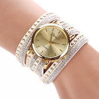 Attractive Fashion New Women Crystal Rivet Bracelet Quartz Braided Winding Wrap Wrist Watch Beauty Braclet AG7