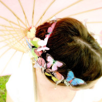 TWO handmade dupioni silk butterfly hair clips . the butterfly house . your choice