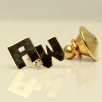 Vintage Dual Initial Letter A and W with 1 mm Diamond 14K Yellow Gold Stickpin