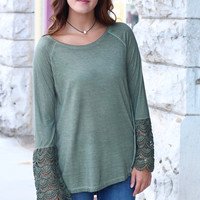 Lace Belles Long Sleeve Acid Wash Top {Olive}