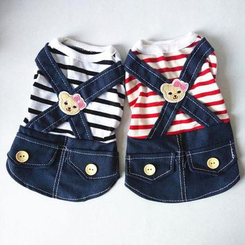 DCCKH6B Dog Dress Striped skirt Denim Dress Dog Clothes Summer Spring Pet Clothing Chihuahua Poodle Bichon Yorkies Clothes Costume