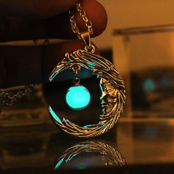 GLOW in the DARK Luminous Moon Pendant Necklace