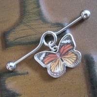 Monarch Butterfly Industrial Barbell Piercing- Scaffold Bar Ear Earring Jewelry Charm Dangle 14g 14 G Gauge