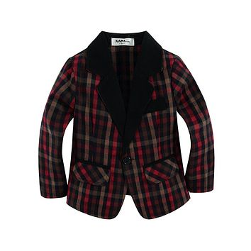 new arrival woven cotton 100% toddler Boy blazer with cute plaid fabric Red type