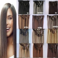 """22"""" 7pcs Full Head Clip in Synthetic Hair Extensions Straight 28colors (1# Jet Black)"""