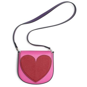 ONETOW Gucci Heart Borsa Kids Leather Girls Pink Red Handbag New Authentic