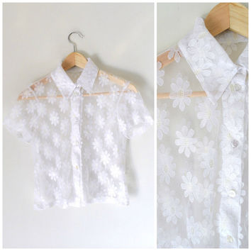 90s GRUNGE mesh blouse / vintage early 1990s CLUB KID button up kawaii white daisy print collared crop top