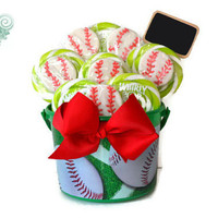 Baseball Lollipop Centerpiece, Baseball Candy Arrangement, Candy Centerpiece, Lollipop Centerpiece, Baseball, Birthday, Sports Party, Candy