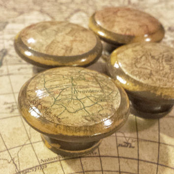 4 Handmade Map Knob Drawer Pulls, Antique Distressed Street Map Cabinet Pull Handles, Brown Antique Gold Dresser Knobs, Office Decor
