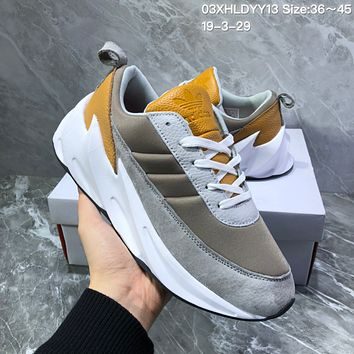 hcxx A1128 Adidas Sharks Concept 2019 Fashion Casual Running Shoes Gray Yellow