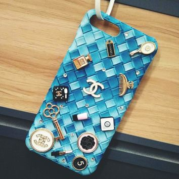 CHANEL Trending Cute iPhone Phone Cover Case For iphone 6 6s 6plus 6s-plus 7 7plus +  iphone 8  iphone X Girlfriend Best Gift(6-Color) Blue I