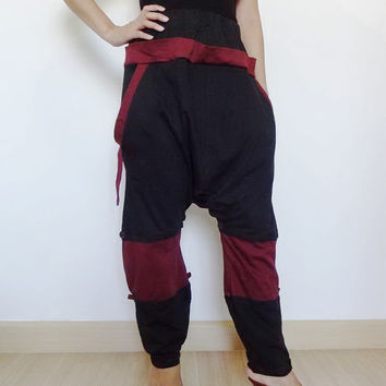 Trouser Gaucho Two Tone Adjustable Pant,Yoga Ninja  Pants.Unisex Black/Maroon Color.
