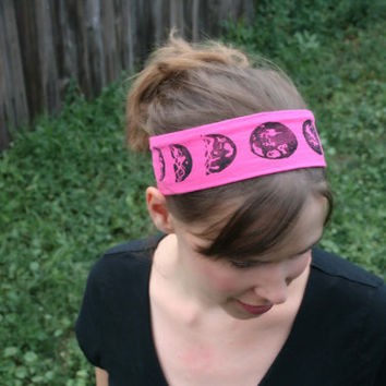 Moon Phases Yoga Headband, Yoga Headband Wrap  Wide Hair Accessory, Yoga Fashion, Hot yoga Headband Yoga Headband Wide,  head scarf, luna