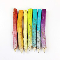 Rainbow Painted Twig Pencils (x7) - Stationery, School Supplies, Party Favors, Office