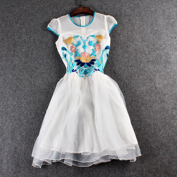 Blue Floral Embroidered On White Layered Zipper Back Mesh Mini Dress