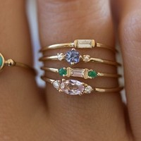 Fashion 4pcs/set Gold Color Plating Simple Boho Rings Women Zircon bohemian Engagement Rings