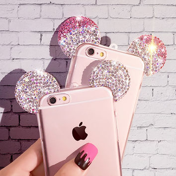 Cases For iPhone 7 Plus 6 6S Plus SE 5 5S HIgh Quality Rhinestone 3D Mickey Mouse Ears Soft Transparent TPU Back Cover Phone Bag