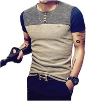 2018 Summer Fashion Men's T Shirt Casual Patchwork Short Sleeve T Shirt Mens Clothing Trend Casual Slim Fit Hip-Hop Top Tees