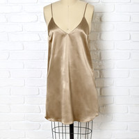 Bronze Silk Slip Dress