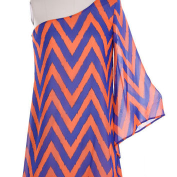 Orange & Blue Chevron Gameday Dress