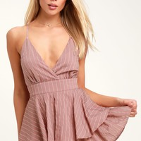 Ruffle and Flow Mauve Striped Backless Ruffle Romper