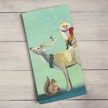 Buck, Fox And Squirrel Tea Towels ~ Holiday Collection