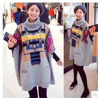 Women Tops Winter Fashion Sweater Cloak Overcoat Vintage Knitted Loose Turtleneck = 1946090244