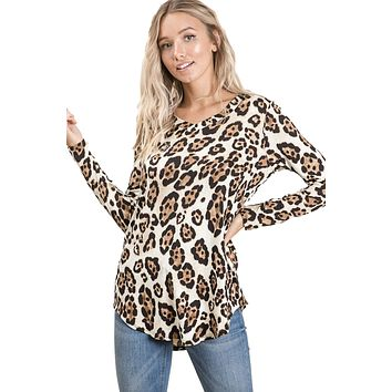 Reborn J Women's Casual Long Sleeve V-Neck Knit Leopard Print Tunic Top