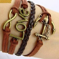 Infinity, love, anchor charm multilayer bracelet