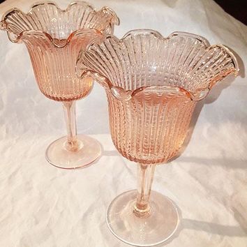 Pink Glass Centerpieces Holders, Vases  S/2