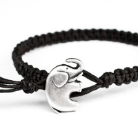 Elephant Black Friendship Bracelet