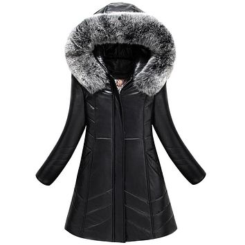 2017 winter women coat plus size L-8XL warm outwear wool leather jacket slim was thin thick parka female jaqueta de couro Long