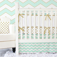 Metallic Mint Chevron Baby Bedding | Aqua Crib Bedding with Gold
