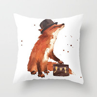 Fox in hat, office decor, gift for the boss, fox, fox painting, British fox Throw Pillow by Eastwitching | Society6