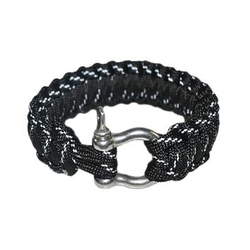 O Shape Buckles Paracord Survival Bracelet With Survival Whistle, Black