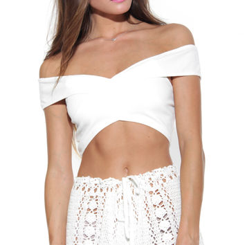 Play Date Crop Top - White
