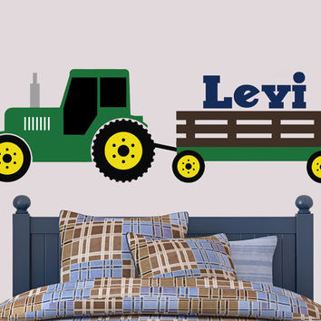 Tractor Wall Decal | John Deere Inspired Wall Decal | Boys Bedroom Decal | Tractor Room Decor |  Boys Bedroom Decor |  Farm Decor | Country