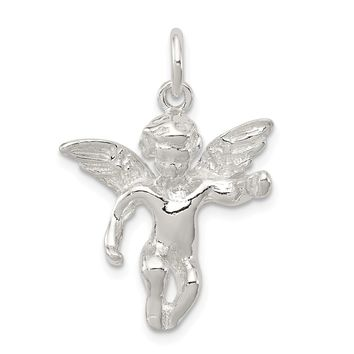 Sterling Silver Polished Full Angel Figure 3-d Pendant